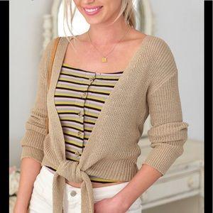 Tops - Open front knit tie top